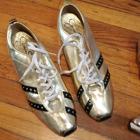 NWOT Gold Jessica Simpson athletic shoes